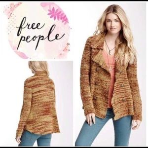 Free People Zebra Yarn Double Breasted Blazer
